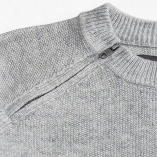 AK男装(AKSERIES) 2018秋冬新款轻圆领带拉链设计羊毛衫1803205 花灰色 S