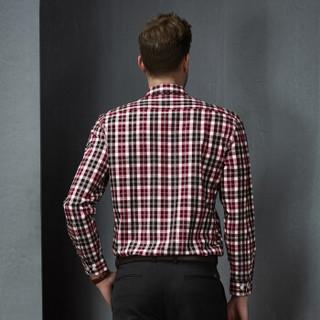 Virtue富绅纯棉法兰绒格子衬衫男士舒适磨毛修身长袖衬衫00CD608LF红黑格纹 39