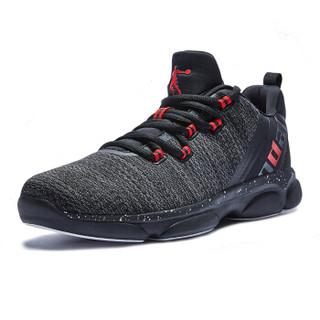 QIAODAN 乔丹 男 篮球鞋透气耐磨缓震潮流战靴 XM4580112 黑色/极光红 41