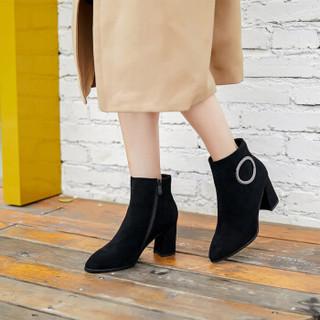 huanai 华耐 女士英伦风单鞋百搭粗跟马丁切尔西短靴S17512761 黑色 35