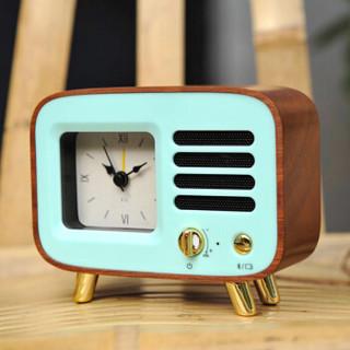 TIMESS 闹钟  无线蓝牙创意音箱个性马卡龙客厅卧室实木静音床头音乐小闹钟 R4-B榉木蓝色