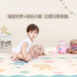 爱音(Aing )宝宝爬行垫儿童爬爬垫双面加厚环保XPE婴儿游戏垫防滑泡沫地垫游戏毯 蓝色140*210*2CM