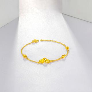 周六福 珠宝 女款心连心细款999足金黄金手链 计价AC070283 约2.5g16cm