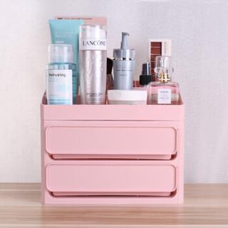 贝瑟斯 桌面整理 化妆品收纳盒 双层抽屉 梳妆盒收纳箱口红置物架宿舍神器厨房置物架浴室置物架