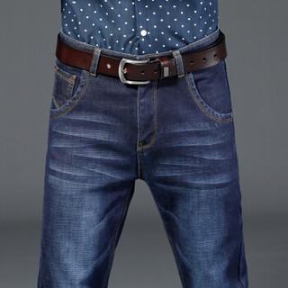 猫人(MiiOW)牛仔裤 男士休闲百搭加绒加厚保暖牛仔长裤子021蓝色加绒32