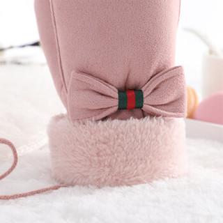 南极人手套女冬季保暖可爱蝴蝶结加绒加厚韩版学生挂脖连指女生手套N2E8X88822 粉色 均码