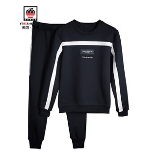 AEMAPE/美国苹果 卫衣男士套装2018秋冬新款运动卫衣休闲男士长袖外套男装 APM08 黑色 3XL