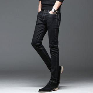 猫人(MiiOW)男士牛仔裤时尚休闲百搭直筒牛仔长裤QT1012-1023黑色33