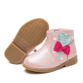 abckids童鞋 女宝宝冬季儿童短靴韩版1-3岁单靴软底学步公主靴P85112504D 粉红24码