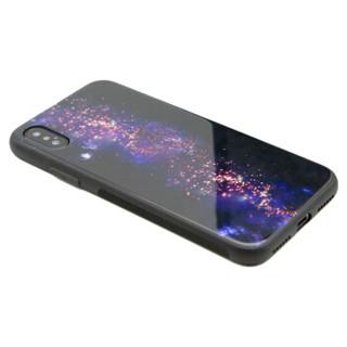 伟吉iPhoneXS 玻璃后盖手机壳(钢化玻璃后盖+TPU软边)防摔全包新款硬壳 星云长河图案 适用于苹果XS