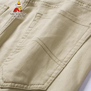 稻草人(MEXICAN)休闲裤男士简约单色直筒小脚裤修身长裤男 M180913 卡其色 35码