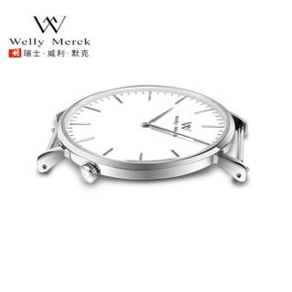 威利默克(welly merck)手表WM男士手表简约瑞士石英表超薄防水时尚学生腕表潮 002-SWB-MS-42