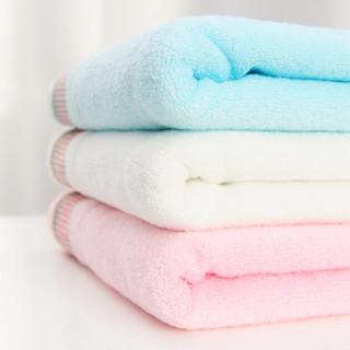 新亚 毛巾 纯棉彩缎成人洗脸大毛巾 全棉亲肤吸水洁面巾 3条装 蓝/粉/米 30*60cm