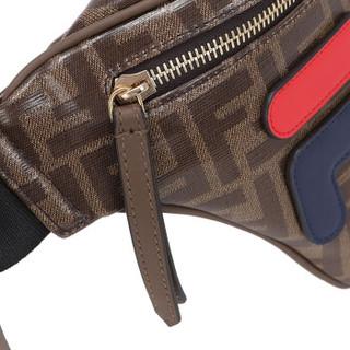 FENDI 芬迪 女士棕色PVC深蓝色字母图案腰包 8BM006 A5N7 F1562
