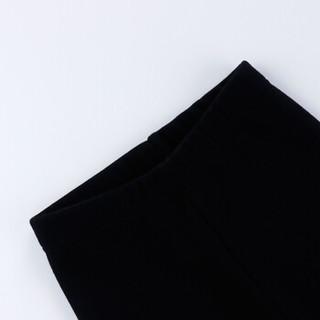 小红豆(XHDKiDS)女童秋冬加绒打底裤加厚休闲绣花长裤运动卫裤GHK332ID黑色130
