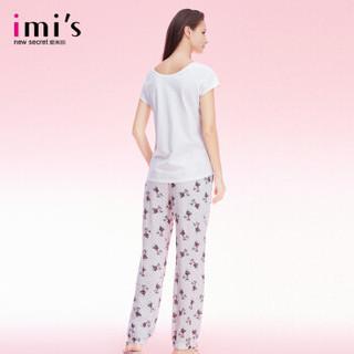 imi's爱美丽女士家居服 小狗印花短袖上衣长裤套装夏 白色 XL