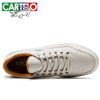 CARTELO 卡帝乐鳄鱼 男士时尚潮流简约系带防滑耐磨运动休闲板鞋 QH1312 米白 41