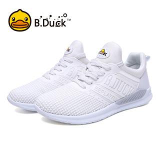 B.Duck小黄鸭 女款潮休闲时尚网面接接透气轻质百搭运动鞋 Y836722 白色 36