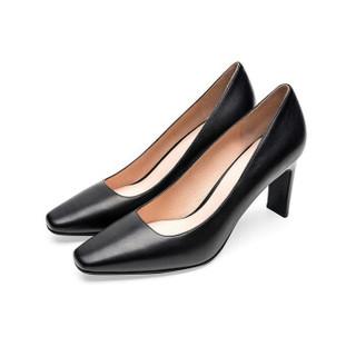 le saunda 莱尔斯丹 时尚优雅通勤OL职业方头套脚高跟女单鞋 LS 9T80101 黑色 35