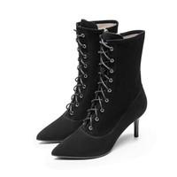 le saunda 莱尔斯丹 时尚优雅尖头系带侧拉链高跟女马丁靴LS 9T67002 黑色 37
