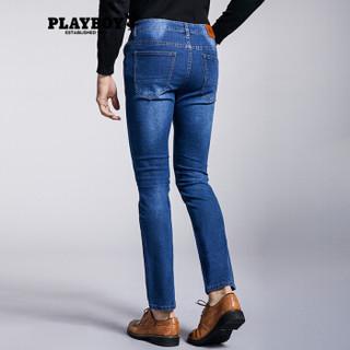 花花公子 PLAYBOY 男士休闲纯色直筒修身时尚商务四季款牛仔裤 DH17170572 铂金牛仔蓝 34(2尺7)