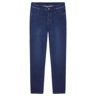 骆驼(CAMEL)男装 男青年时尚中腰韩版直筒纯色磨白牛仔长裤D8X316514蓝色34