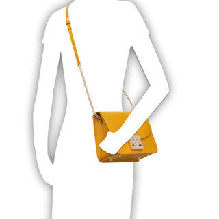 FURLA 芙拉 METROPOLIS系列 女士 牛皮革 黄色 S号 斜跨单肩包 978090 黄色