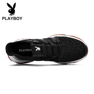 PLAYBOY 花花公子 飞织运动跑步休闲鞋男士低帮防滑 DS85194 黑/灰 41