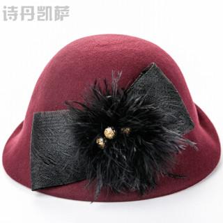 诗丹凯萨小礼帽女士英伦羊毛贝雷帽 FW298005 枣红色 55cm-57cm