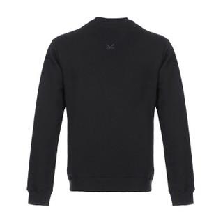 KENZO 高田贤三 男士黑色LOGO图案棉质圆领卫衣运动衫 F86 5SW000 4MD 99 L码