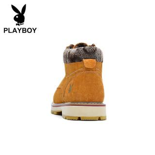 PLAYBOY 花花公子 加绒休闲雪地靴子男厚底保暖舒适棉鞋  黄棕 39 DS87281