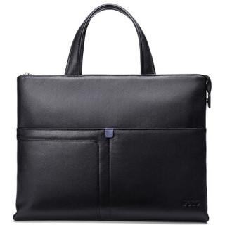 POLO 公文包商务男休闲手提包头层牛皮单肩斜挎包电脑包 ZY042P153J 黑色