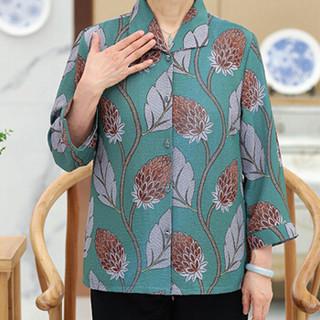 俞兆林 2019新款中老年女装奶奶装大码休闲印花外套 YWWT188559  绿色 XXXL