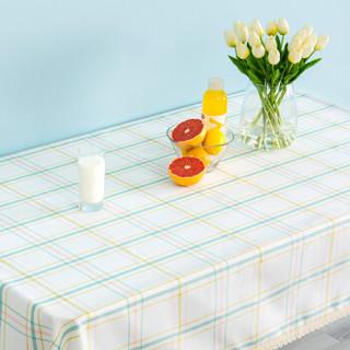 锦色华年新格调色织格子餐桌布 田园布艺餐桌茶几圆布垫套装 黄绿格蕾丝边 130*180cm