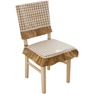 锦色华年格调春天小格子坐垫 椅垫 椅套 欧式餐桌布套装 咖色荷叶花边款 1个椅垫+1个椅背套特惠套餐