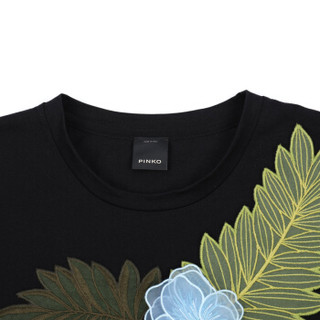 PINKO 女士黑色棉质绣花短袖T恤 1B135D 5071 Z99 M