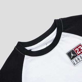 乔丹Jordan 女中小童圆领棉长袖T恤新款春秋装潮运动休闲打底衫83322LT335