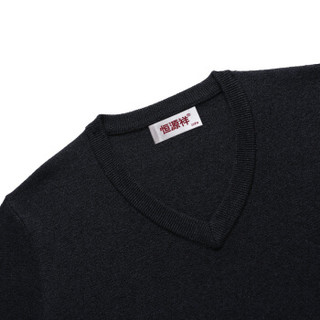 恒源祥羊毛衫男士v领2018秋冬毛衣新款纯羊毛薄款针织打底衫 上青 120(180/96A)