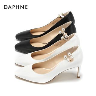 DAPHNE 达芙妮 1018101100 优雅珍珠气质小方头细跟高跟鞋1018101100 黑色36