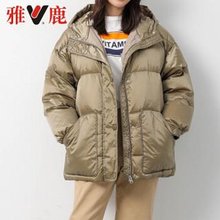 雅鹿 YT6101270 韩国年冬新款系腰带显瘦连帽短款羽绒服女外套 香槟色 S
