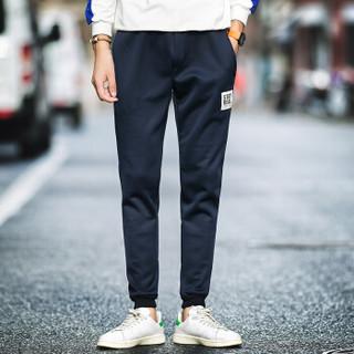 AEMAPE/美国苹果 休闲裤男时尚运动小脚裤男韩版潮流修身男哈伦裤男装卫裤 K52深蓝 2XL