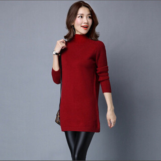 尚格帛 2018冬季新品女装打底衫修身高领打底毛衣中长款韩版长袖加厚针织衫 LLFYG8812GB 酒红 XL