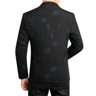 鳄鱼恤(CROCODILE)西服 2018新款秋冬精品男士时尚休闲树叶 西服单西 2018-6612 黑色 XL