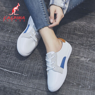 L'ALPINA 阿尔皮纳 小白鞋女皮平防滑休闲系带学生运动681白棕35