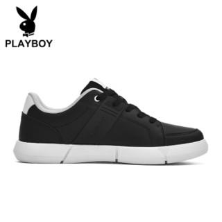 PLAYBOY 花花公子 韩版运动跑步休闲板鞋男低帮舒适防滑 DS85256 黑色 44