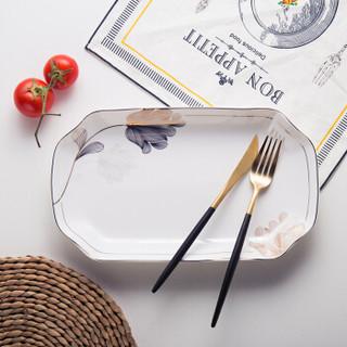 传旗 韩式陶瓷盘 鱼盘 陶瓷餐具 饭盘 菜盘 深汤盘12英寸(1只装)冰山雪莲