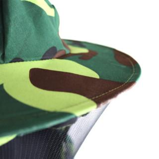 谋福 8870 防蜂衣服迷彩蜜蜂防护服半身透气带防蜂帽防蜂服防护衣蜂具 迷彩绿款(赠高档作业手套一副)