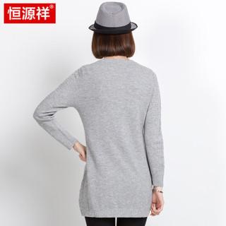 恒源祥秋冬羊毛衫女套头毛衣裙中长款针织打底毛线连衣裙 灰色 170/XL