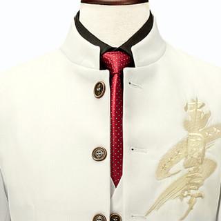 金盾(KIN DON)西服套装 男新款大码修身宴会生日礼服中山立领西装套装 QT2030-1881 白色 M