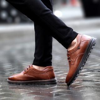 PLAYBOY 花花公子 男士英伦舒适百搭系带休闲潮流皮鞋 CX39359 暗棕 42